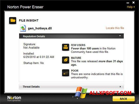 Screenshot Norton Power Eraser for Windows XP