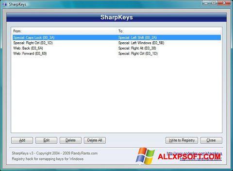 Screenshot SharpKeys for Windows XP