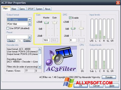 Screenshot AC3Filter for Windows XP