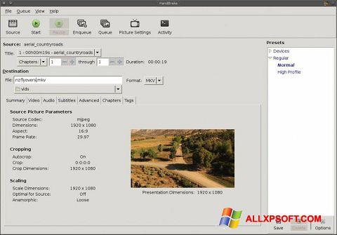 Screenshot HandBrake for Windows XP