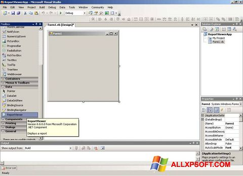 Screenshot Microsoft Visual Studio for Windows XP