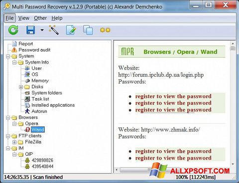 Screenshot Multi Password Recovery for Windows XP