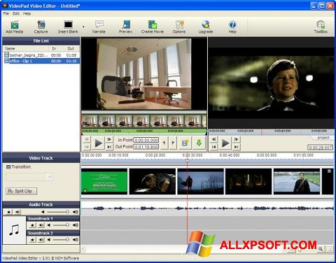 Screenshot VideoPad Video Editor for Windows XP