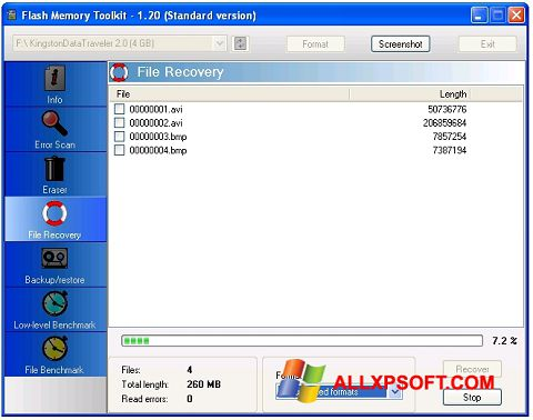 Screenshot Flash Memory Toolkit for Windows XP