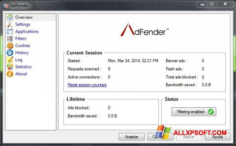 Screenshot AdFender for Windows XP