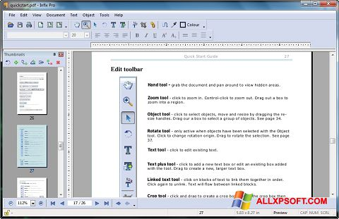 Screenshot Infix PDF Editor for Windows XP