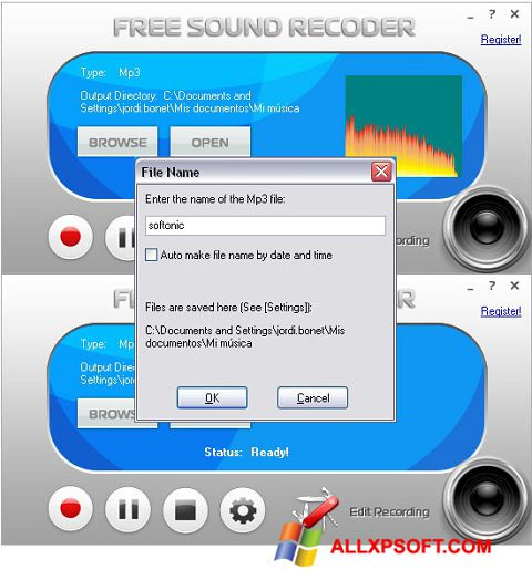 Screenshot Free Sound Recorder for Windows XP
