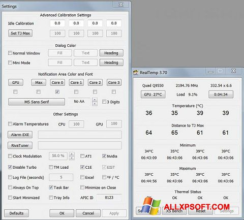 Screenshot Real Temp for Windows XP