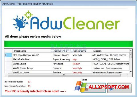 Screenshot AdwCleaner for Windows XP