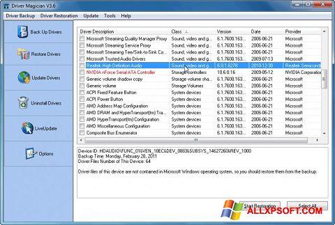 Screenshot Driver Magician for Windows XP