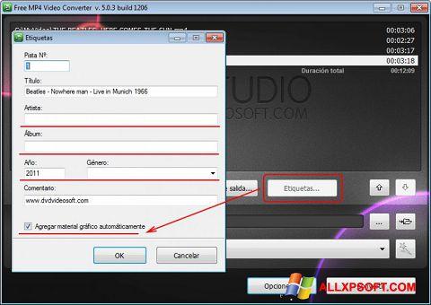 Screenshot Free MP4 Video Converter for Windows XP