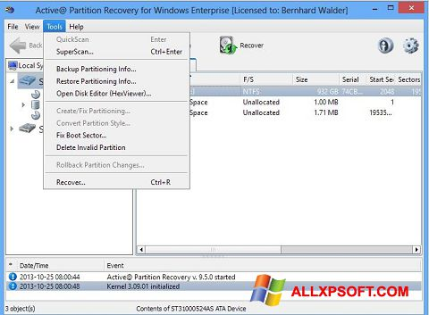 Screenshot Active Partition Recovery for Windows XP