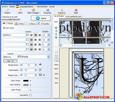 Screenshot Posteriza for Windows XP
