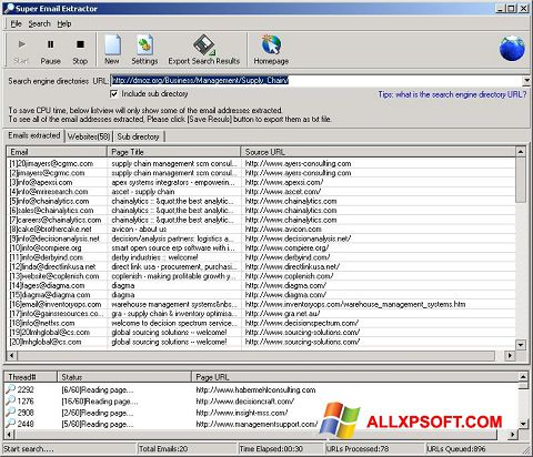 Screenshot eMail Extractor for Windows XP