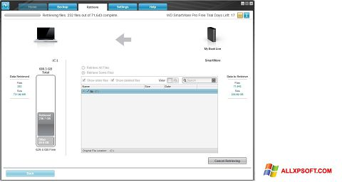 Screenshot WD SmartWare for Windows XP
