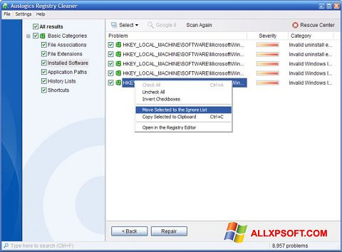 Screenshot Auslogics Registry Cleaner for Windows XP