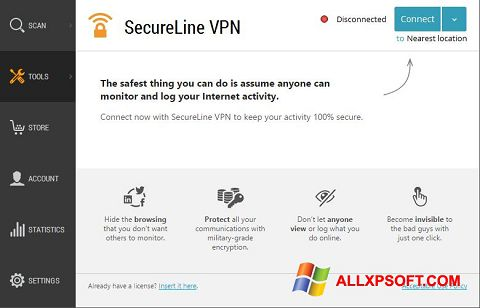Screenshot Avast SecureLine VPN for Windows XP