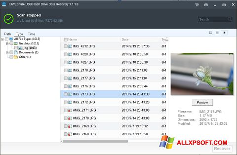 Screenshot USB Flash Drive Recovery for Windows XP