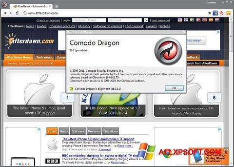 Screenshot Comodo Dragon for Windows XP