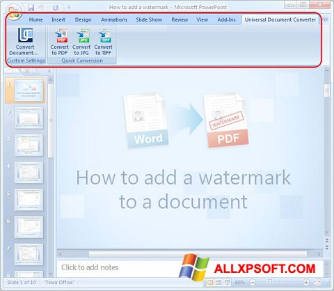 Screenshot Microsoft PowerPoint for Windows XP