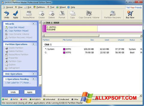 Screenshot EASEUS Partition Master for Windows XP