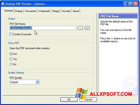 Screenshot BullZip PDF Printer for Windows XP