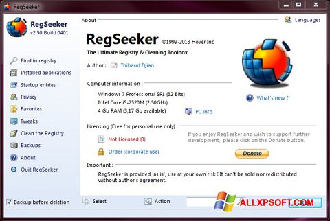 Screenshot RegSeeker for Windows XP
