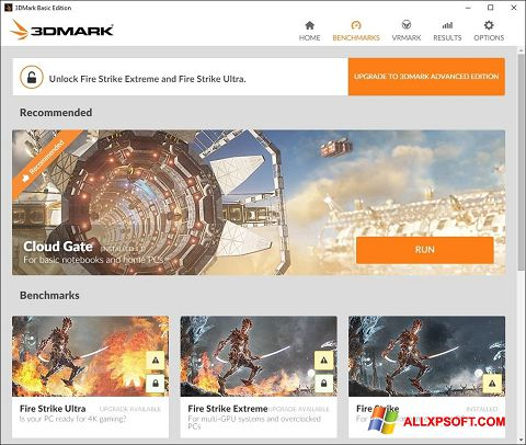 Screenshot 3DMark for Windows XP