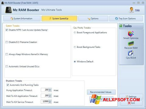 Screenshot Mz RAM Booster for Windows XP