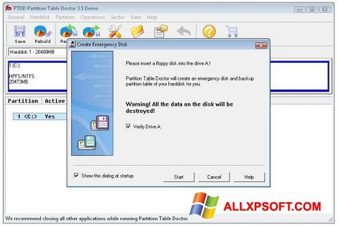 Screenshot Partition Table Doctor for Windows XP