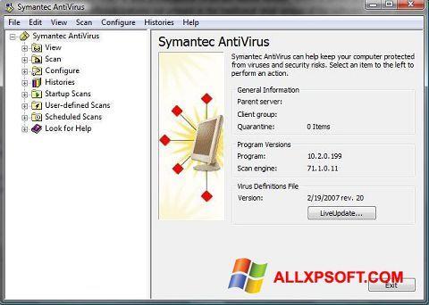 Screenshot Symantec Antivirus for Windows XP