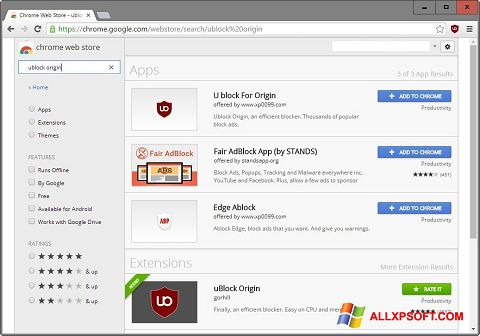 Screenshot uBlock for Windows XP