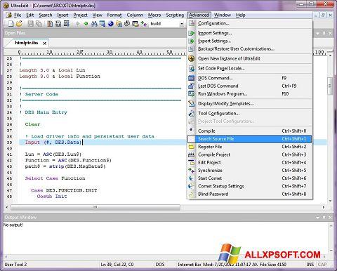 Screenshot UltraEdit for Windows XP