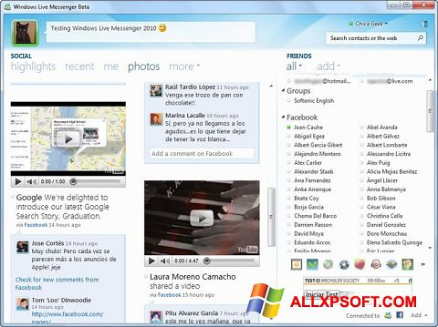Screenshot Windows Live Messenger for Windows XP