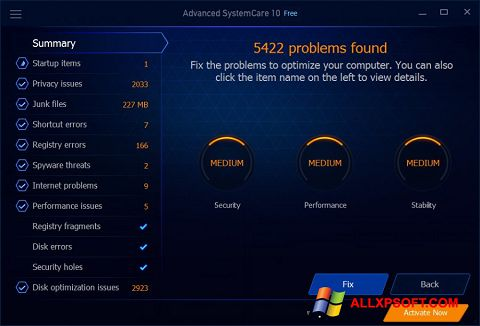 Screenshot Advanced SystemCare Free for Windows XP