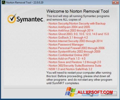 Screenshot Norton Removal Tool for Windows XP