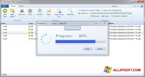 Screenshot PDF Unlocker for Windows XP