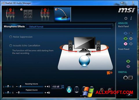 Screenshot Realtek Audio Driver for Windows XP