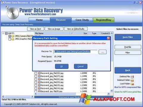 Screenshot Wondershare Data Recovery for Windows XP
