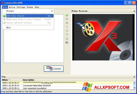 Screenshot ConvertXToDVD for Windows XP