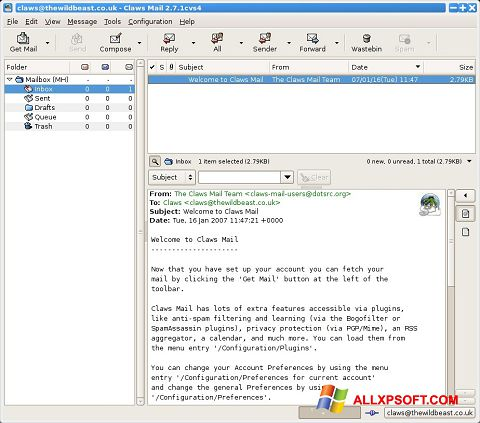 Screenshot Claws Mail for Windows XP