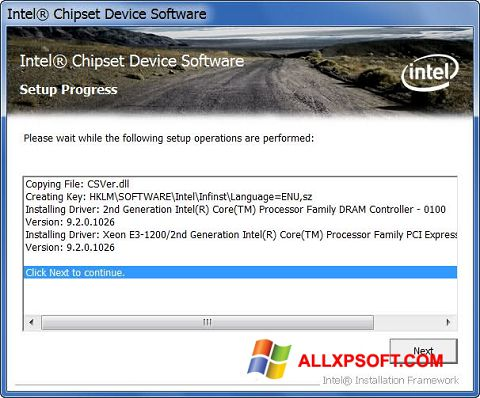Screenshot Intel Chipset Device Software for Windows XP