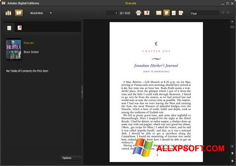 Screenshot Adobe Digital Editions for Windows XP