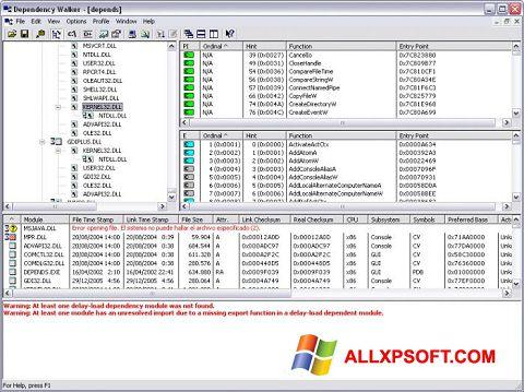 Screenshot Dependency Walker for Windows XP