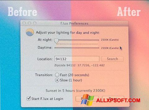 Screenshot F.lux for Windows XP
