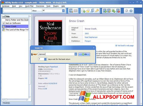 Screenshot All My Books for Windows XP