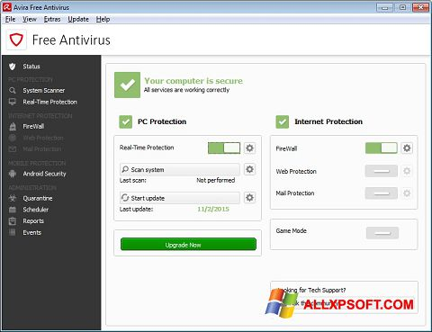 Avira free antivirus for windows xp home edition.