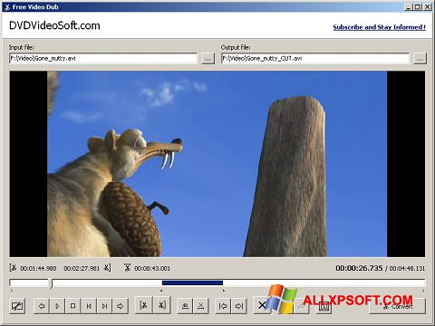 Screenshot Free Video Dub for Windows XP