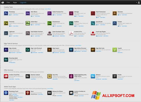 Screenshot Adobe Creative Cloud for Windows XP