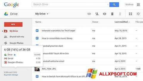 Screenshot Google Drive for Windows XP